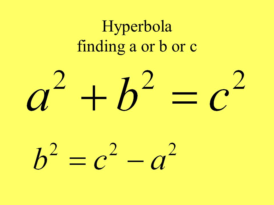 Hyperbola finding a or b or c