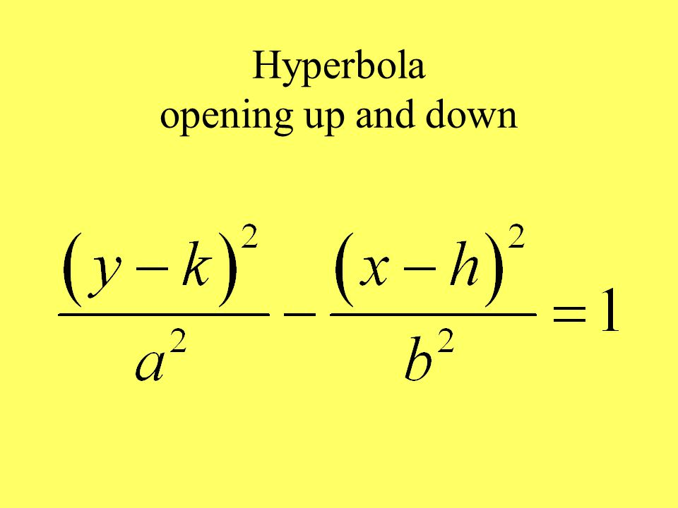 Hyperbola opening up and down