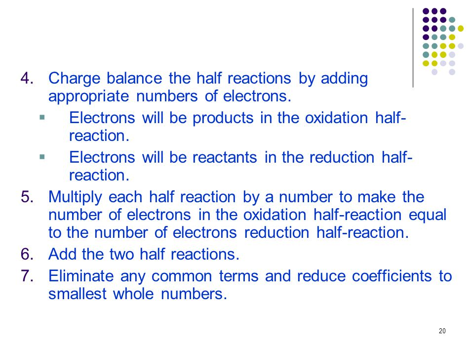 20 4.Charge balance the half reactions by adding appropriate numbers of electrons.