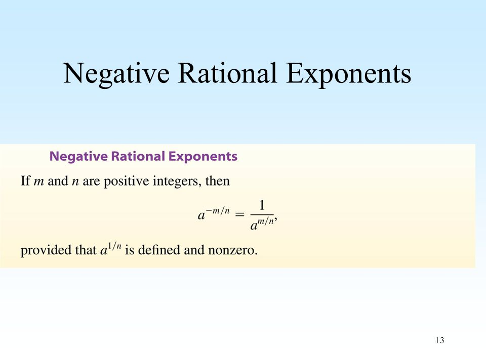 13 Negative Rational Exponents