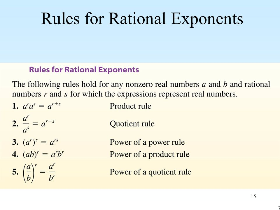 15 Rules for Rational Exponents 7-6