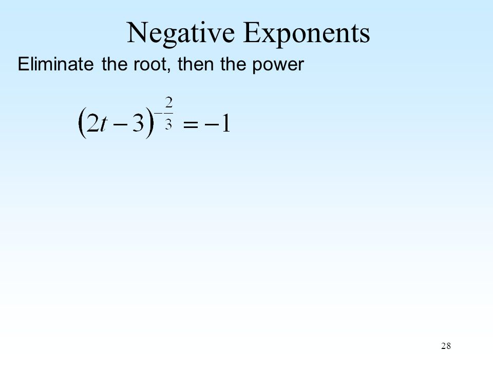28 Negative Exponents Eliminate the root, then the power