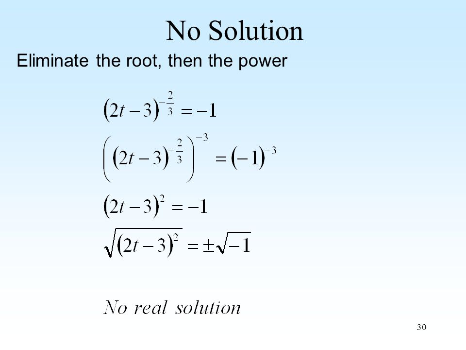 30 No Solution Eliminate the root, then the power