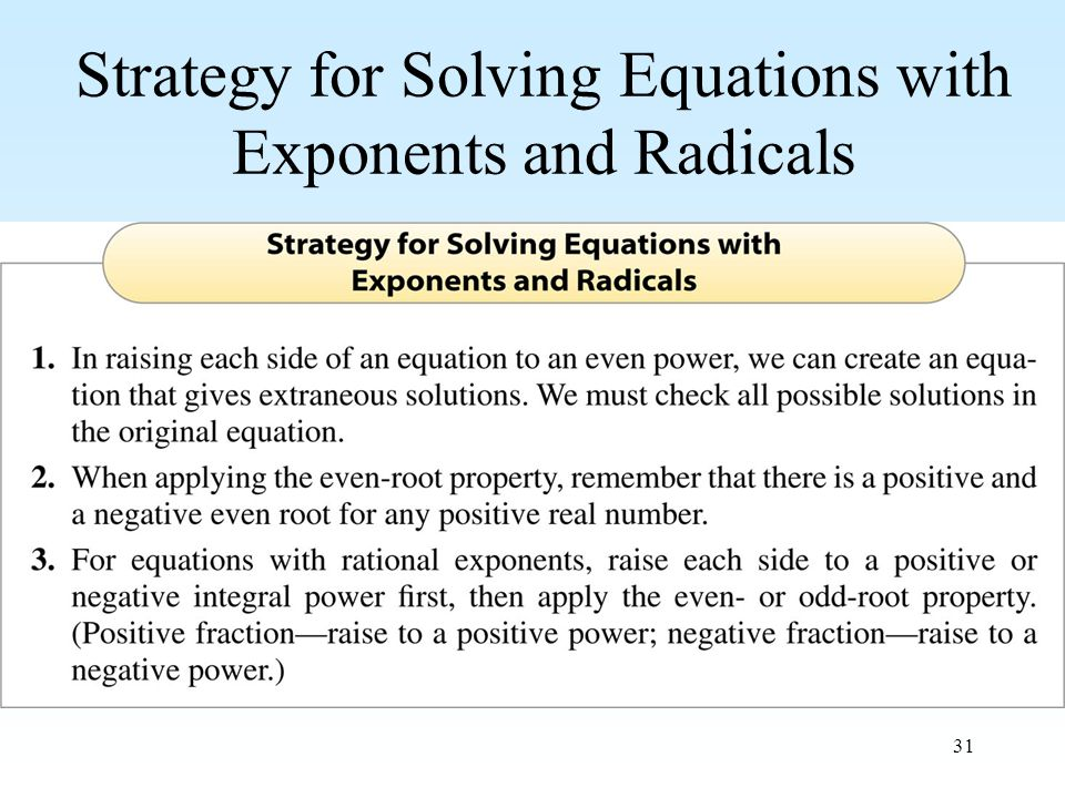 31 Strategy for Solving Equations with Exponents and Radicals