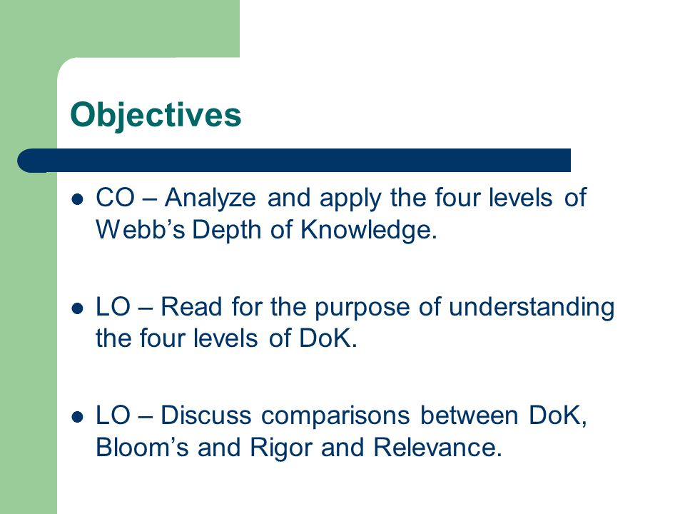 Objectives CO – Analyze and apply the four levels of Webb's Depth of Knowledge.