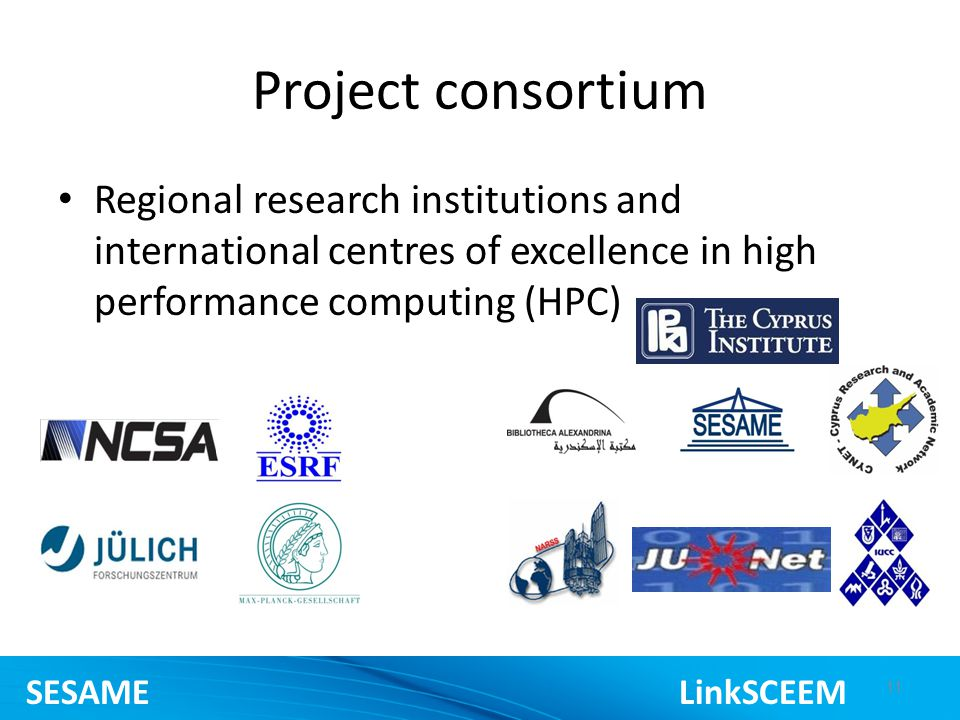 Project consortium Regional research institutions and international centres of excellence in high performance computing (HPC) 11 SESAME LinkSCEEM