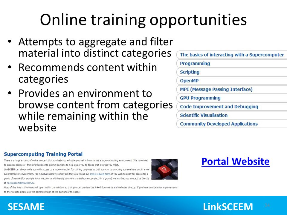 Online training opportunities Attempts to aggregate and filter material into distinct categories Recommends content within categories Provides an environment to browse content from categories while remaining within the website 34 Portal Website SESAME LinkSCEEM