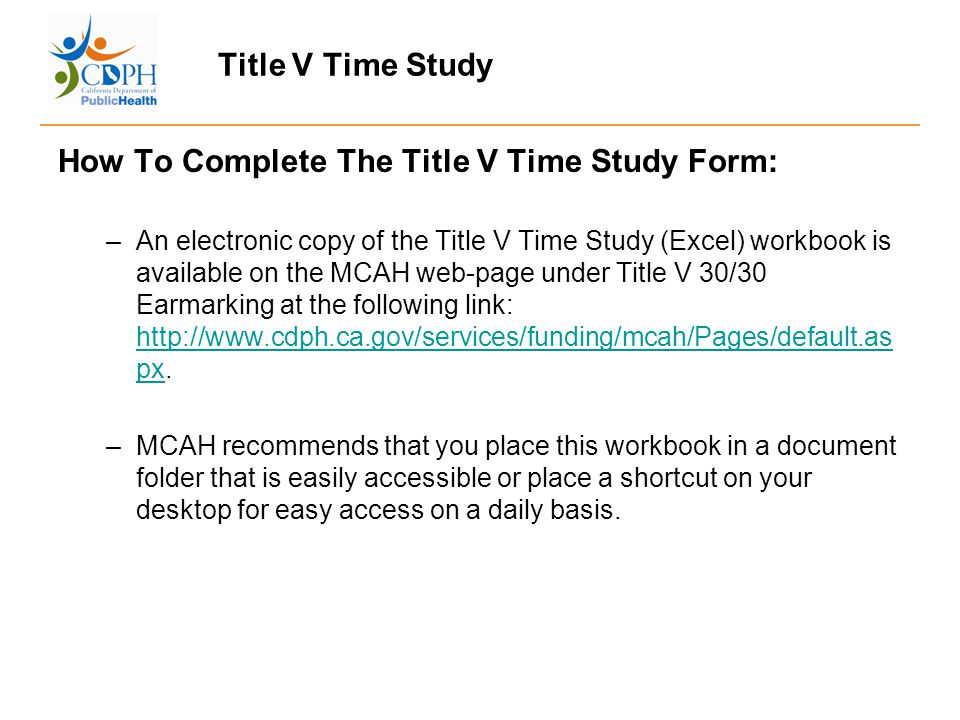 title v time study fred chow chief program allocations integrity