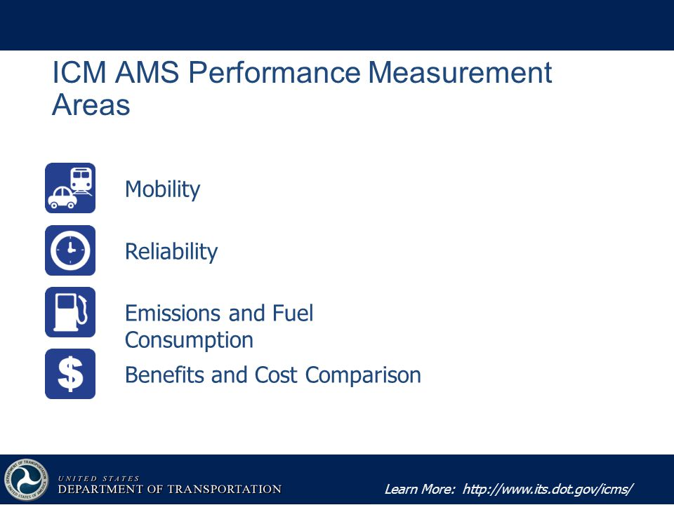 Learn More:   ICM AMS Performance Measurement Areas Mobility Reliability Emissions and Fuel Consumption Benefits and Cost Comparison