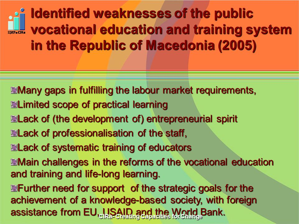 Identified weaknesses of the public vocational education and trainingsystem in the Republic of Macedonia (2005) Identified weaknesses of the public vocational education and training system in the Republic of Macedonia (2005) Many gaps in fulfilling the labour market requirements, Limited scope of practical learning Lack of (the development of) entrepreneurial spirit Lack of professionalisation of the staff, Lack of systematic training of educators Main challenges in the reforms of the vocational education and training and life-long learning.