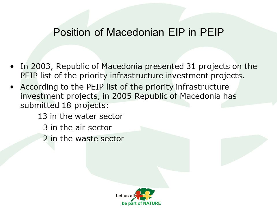Position of Macedonian EIP in PEIP In 2003, Republic of Macedonia presented 31 projects on the PEIP list of the priority infrastructure investment projects.