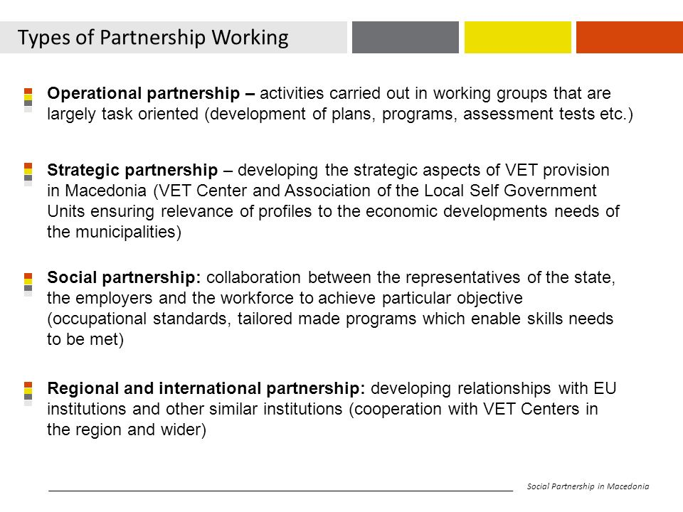 Types of Partnership Working Social Partnership in Macedonia Operational partnership – activities carried out in working groups that are largely task oriented (development of plans, programs, assessment tests etc.) Strategic partnership – developing the strategic aspects of VET provision in Macedonia (VET Center and Association of the Local Self Government Units ensuring relevance of profiles to the economic developments needs of the municipalities) Social partnership: collaboration between the representatives of the state, the employers and the workforce to achieve particular objective (occupational standards, tailored made programs which enable skills needs to be met) Regional and international partnership: developing relationships with EU institutions and other similar institutions (cooperation with VET Centers in the region and wider)