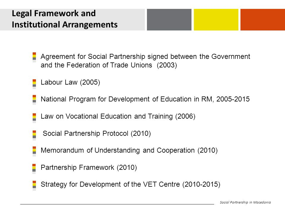Legal Framework and Institutional Arrangements Agreement for Social Partnership signed between the Government and the Federation of Trade Unions (2003) Labour Law (2005) National Program for Development of Education in RM, Law on Vocational Education and Training (2006) Social Partnership Protocol (2010) Memorandum of Understanding and Cooperation (2010) Partnership Framework (2010) Strategy for Development of the VET Centre ( ) Social Partnership in Macedonia