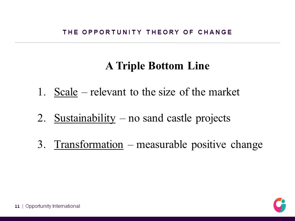 THE OPPORTUNITY THEORY OF CHANGE A Triple Bottom Line 1.Scale – relevant to the size of the market 2.Sustainability – no sand castle projects 3.Transformation – measurable positive change 11 | Opportunity International