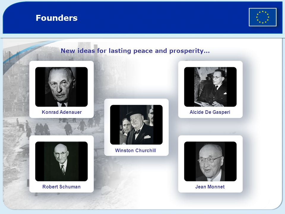 Founders New ideas for lasting peace and prosperity… Konrad Adenauer Robert Schuman Winston Churchill Alcide De Gasperi Jean Monnet