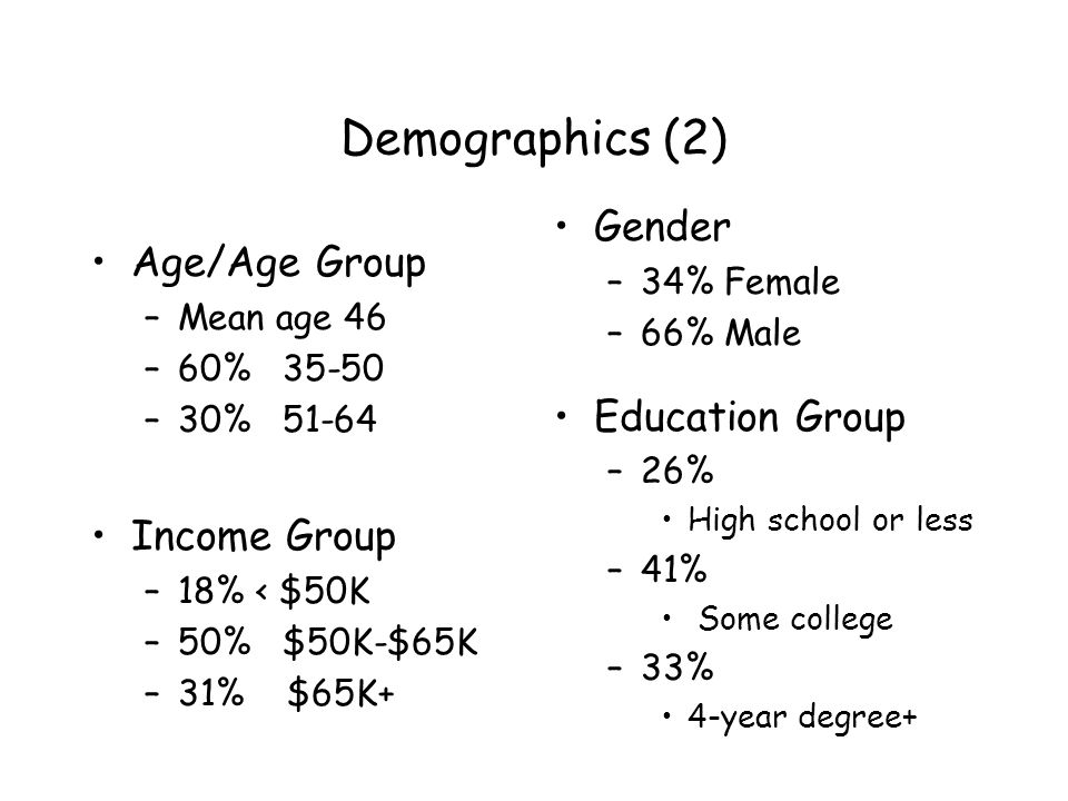 Demographics (2) Age/Age Group –Mean age 46 –60% –30% Income Group –18% < $50K –50% $50K-$65K –31% $65K+ Gender –34% Female –66% Male Education Group –26% High school or less –41% Some college –33% 4-year degree+
