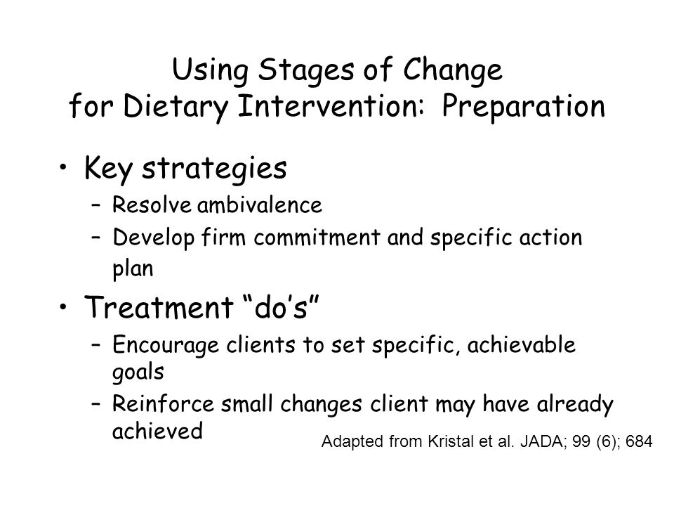 Using Stages of Change for Dietary Intervention: Preparation Key strategies –Resolve ambivalence –Develop firm commitment and specific action plan Treatment do's –Encourage clients to set specific, achievable goals –Reinforce small changes client may have already achieved Adapted from Kristal et al.