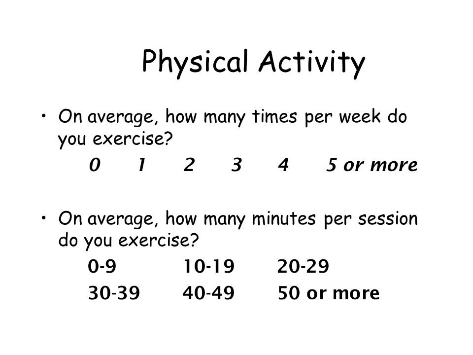 Physical Activity On average, how many times per week do you exercise.