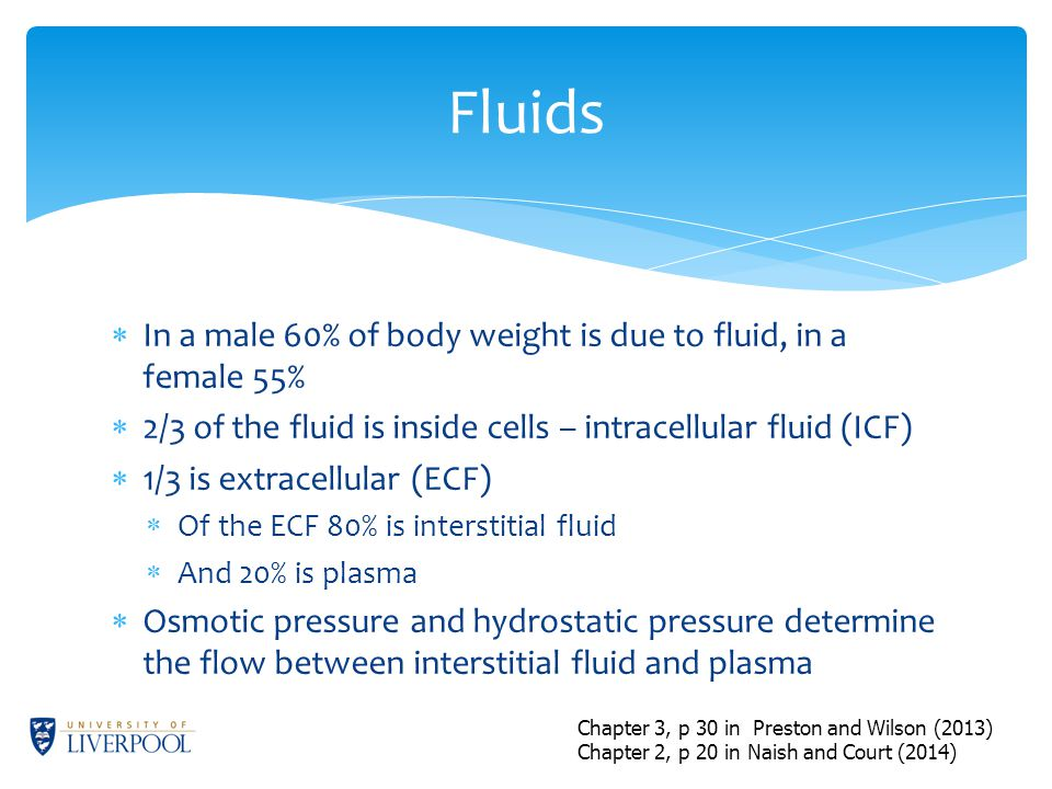  In a male 60% of body weight is due to fluid, in a female 55%  2/3 of the fluid is inside cells – intracellular fluid (ICF)  1/3 is extracellular (ECF)  Of the ECF 80% is interstitial fluid  And 20% is plasma  Osmotic pressure and hydrostatic pressure determine the flow between interstitial fluid and plasma Fluids Chapter 3, p 30 in Preston and Wilson (2013) Chapter 2, p 20 in Naish and Court (2014)