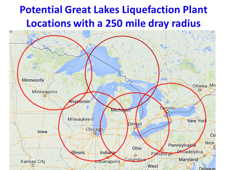 Twin Ports LNG Liquefaction Plant Marketing Region 250 mile drayage in a hub and spoke system 250-Mile Radius of Duluth and Chicago 4.3 Million People Mining Marine Transportation Transit Rail Trucking Off the pipeline grid Agriculture