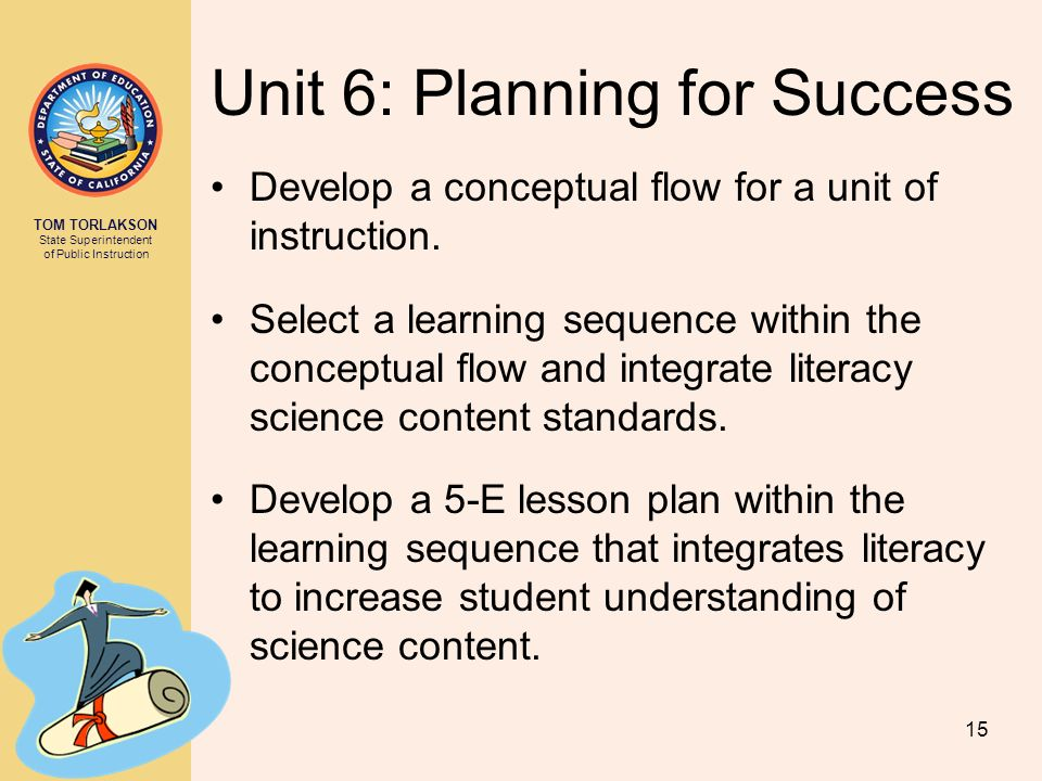 TOM TORLAKSON State Superintendent of Public Instruction Unit 6: Planning for Success Develop a conceptual flow for a unit of instruction.