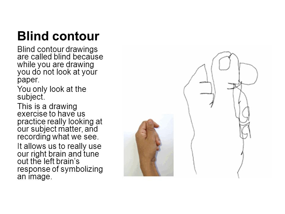 Blind contour Blind contour drawings are called blind because while you are drawing you do not look at your paper.