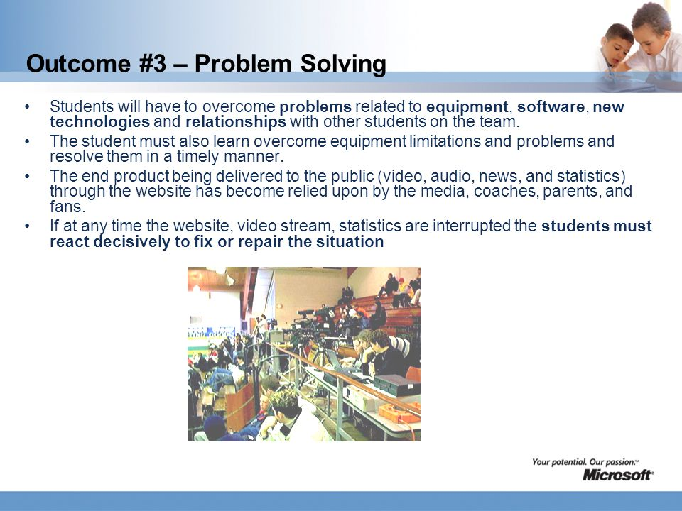 Outcome #3 – Problem Solving Students will have to overcome problems related to equipment, software, new technologies and relationships with other students on the team.