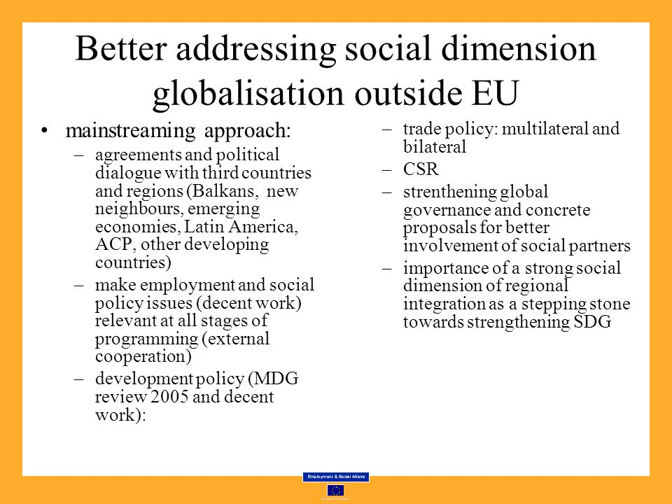 Better addressing social dimension globalisation outside EU mainstreaming approach: –agreements and political dialogue with third countries and regions (Balkans, new neighbours, emerging economies, Latin America, ACP, other developing countries) –make employment and social policy issues (decent work) relevant at all stages of programming (external cooperation) –development policy (MDG review 2005 and decent work): –trade policy: multilateral and bilateral –CSR –strenthening global governance and concrete proposals for better involvement of social partners –importance of a strong social dimension of regional integration as a stepping stone towards strengthening SDG