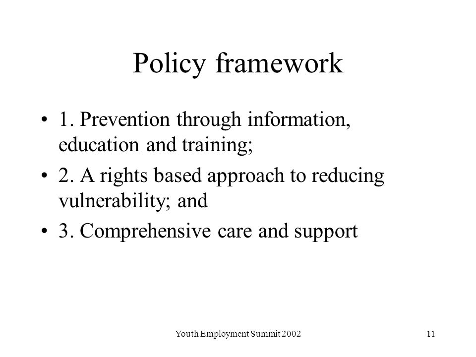 Youth Employment Summit Policy framework 1.