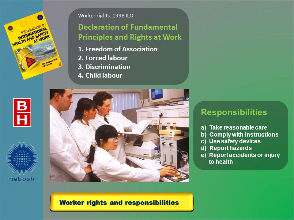 Worker rights and responsibilities Worker rights: 1998 ILO Declaration of Fundamental Principles and Rights at Work 1.