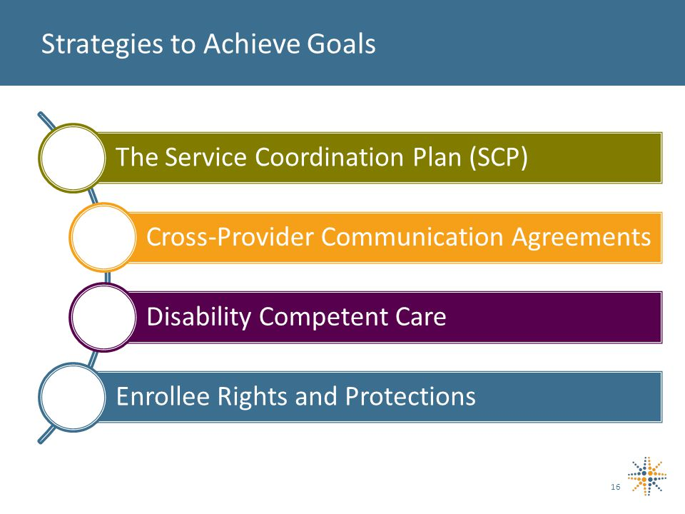 16 Strategies to Achieve Goals The Service Coordination Plan (SCP) Cross-Provider Communication Agreements Disability Competent Care Enrollee Rights and Protections