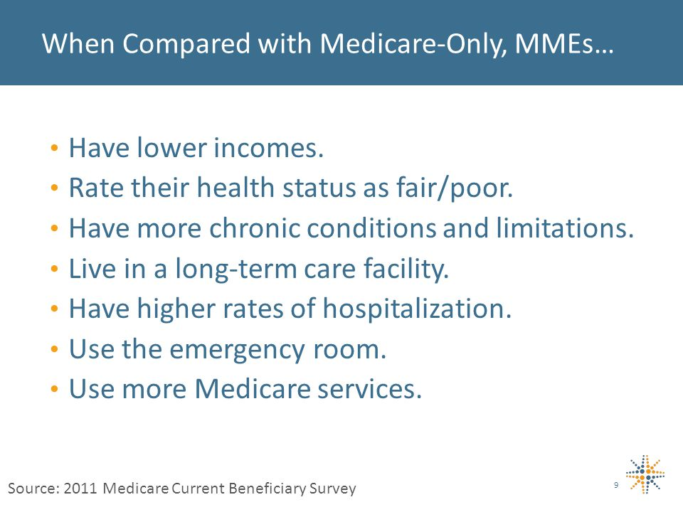 Have lower incomes. Rate their health status as fair/poor.