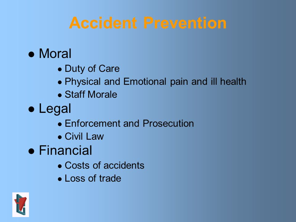 Moral Duty of Care Physical and Emotional pain and ill health Staff Morale Legal Enforcement and Prosecution Civil Law Financial Costs of accidents Loss of trade Accident Prevention
