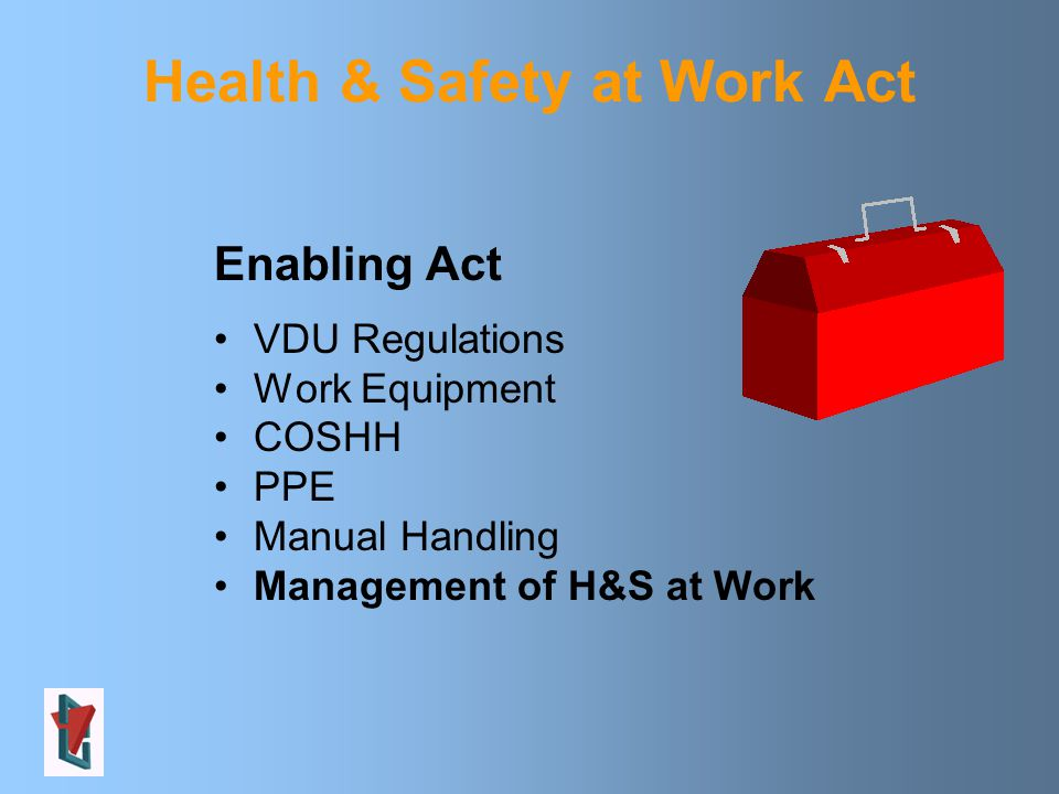Enabling Act VDU Regulations Work Equipment COSHH PPE Manual Handling Management of H&S at Work Health & Safety at Work Act