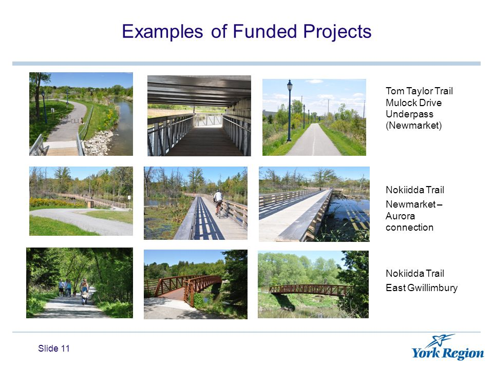 Examples of Funded Projects Slide 11 Tom Taylor Trail Mulock Drive Underpass (Newmarket) Nokiidda Trail Newmarket – Aurora connection Nokiidda Trail East Gwillimbury
