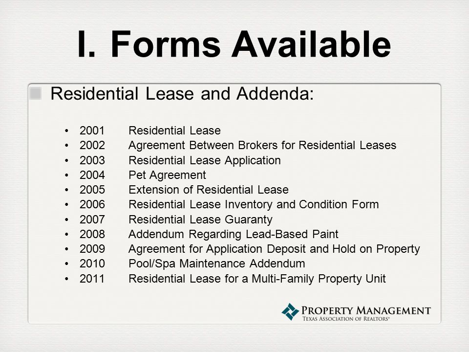 Property Management Webinar Series Property Management Forms
