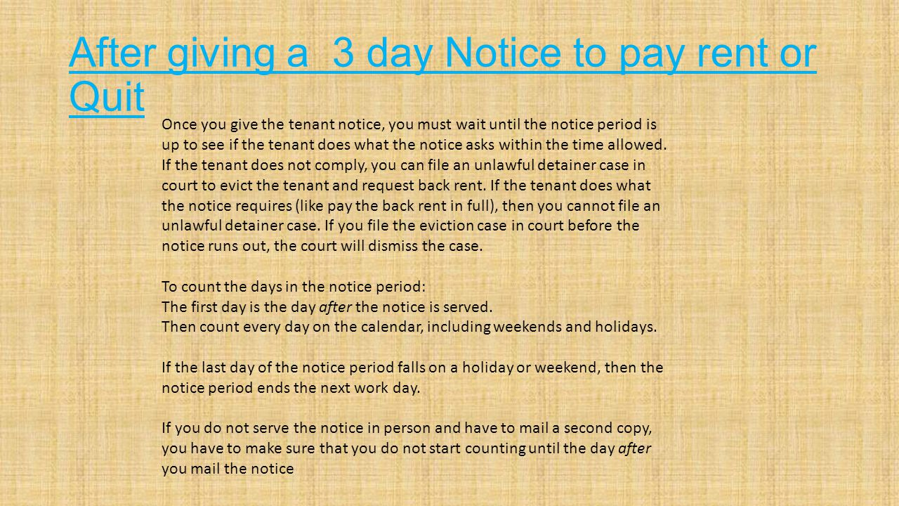 3 day notice to pay rent or quit3 day notice to pay rent or quit