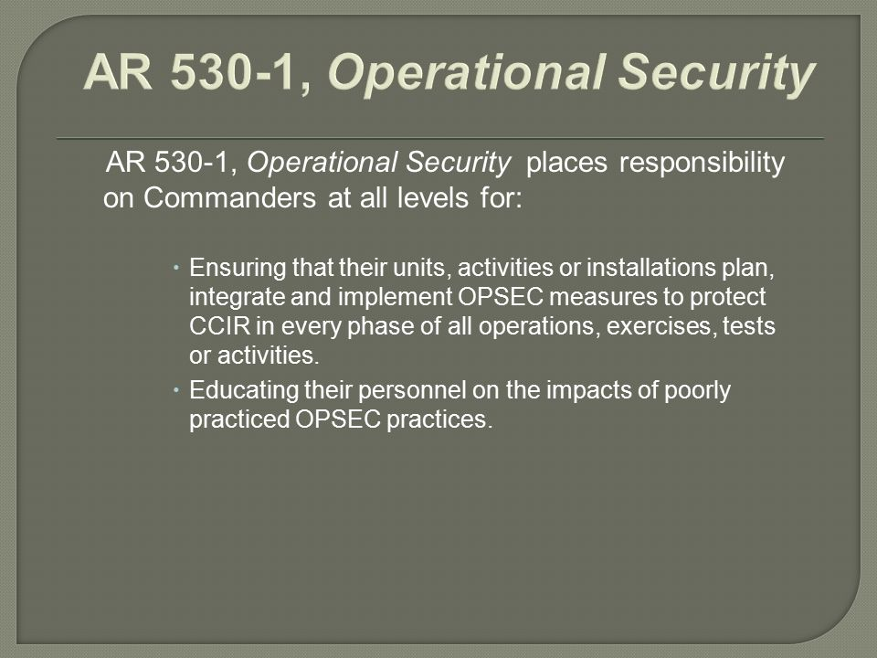 TLO 2 Action Plan Operational Security Intermediate Level