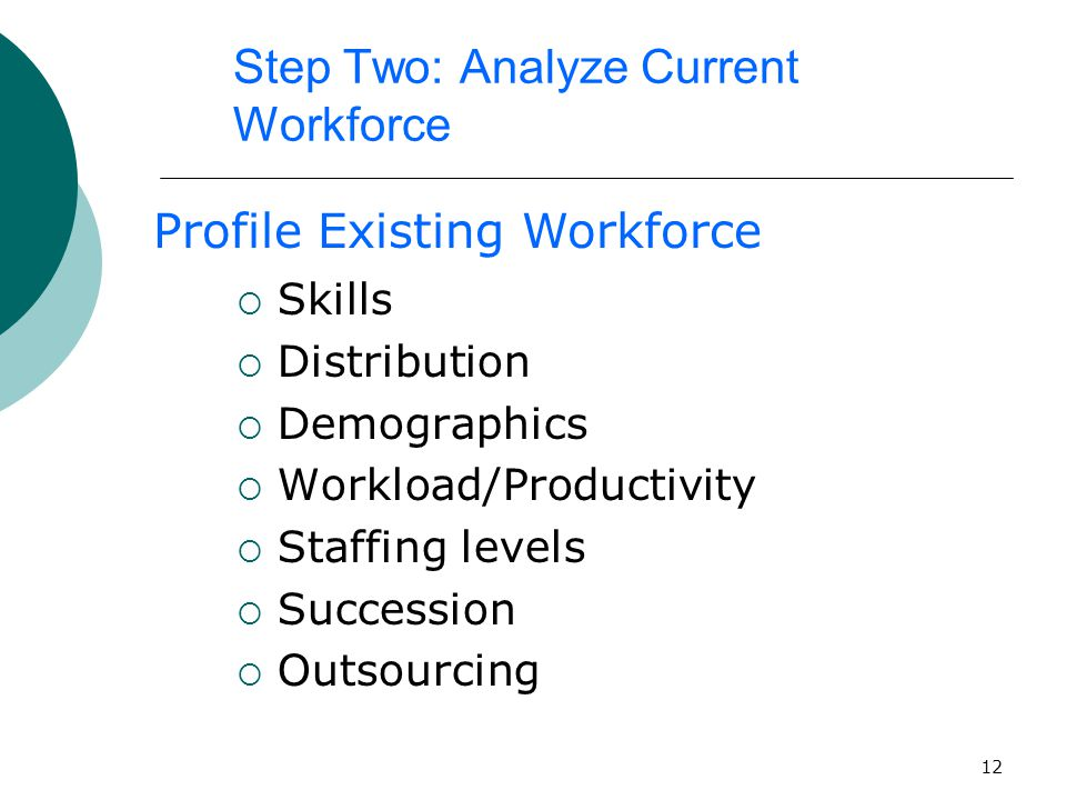12 Step Two: Analyze Current Workforce  Skills  Distribution  Demographics  Workload/Productivity  Staffing levels  Succession  Outsourcing Profile Existing Workforce