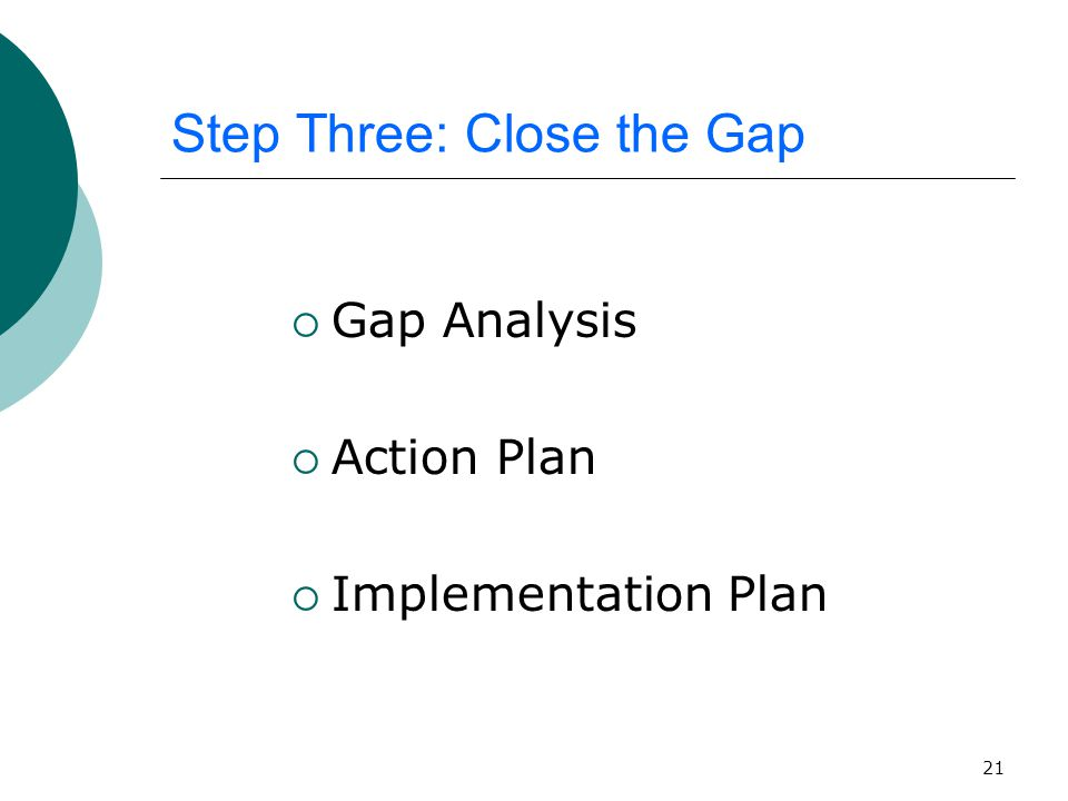 21 Step Three: Close the Gap  Gap Analysis  Action Plan  Implementation Plan