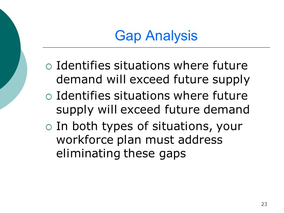 23 Gap Analysis  Identifies situations where future demand will exceed future supply  Identifies situations where future supply will exceed future demand  In both types of situations, your workforce plan must address eliminating these gaps