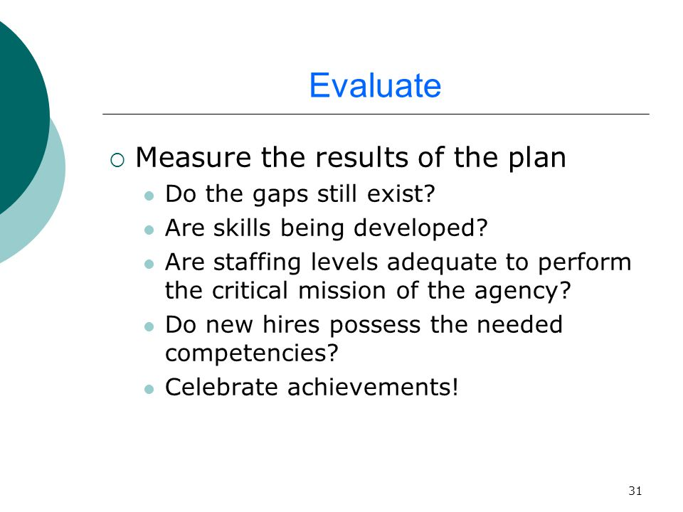 31 Evaluate  Measure the results of the plan Do the gaps still exist.