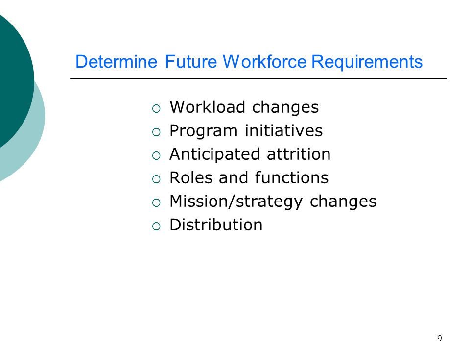 9 Determine Future Workforce Requirements  Workload changes  Program initiatives  Anticipated attrition  Roles and functions  Mission/strategy changes  Distribution
