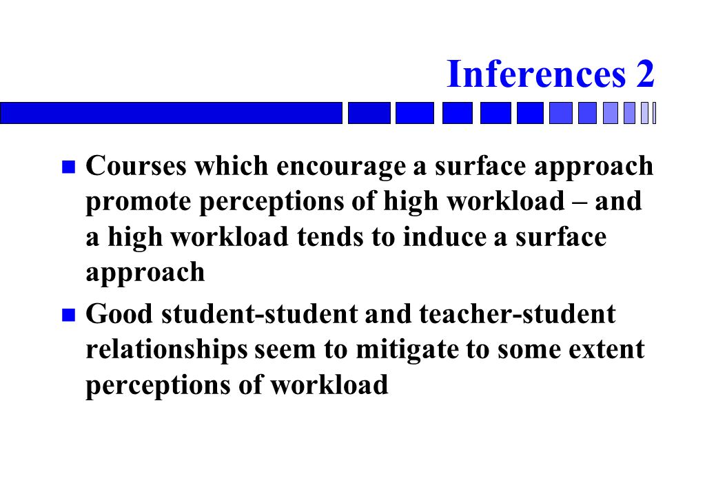 Inferences 2 Courses which encourage a surface approach promote perceptions of high workload – and a high workload tends to induce a surface approach Good student-student and teacher-student relationships seem to mitigate to some extent perceptions of workload