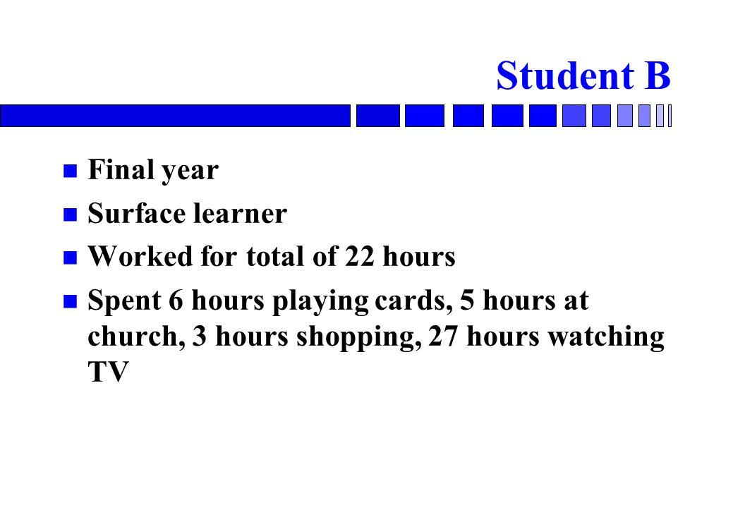 Student B Final year Surface learner Worked for total of 22 hours Spent 6 hours playing cards, 5 hours at church, 3 hours shopping, 27 hours watching TV