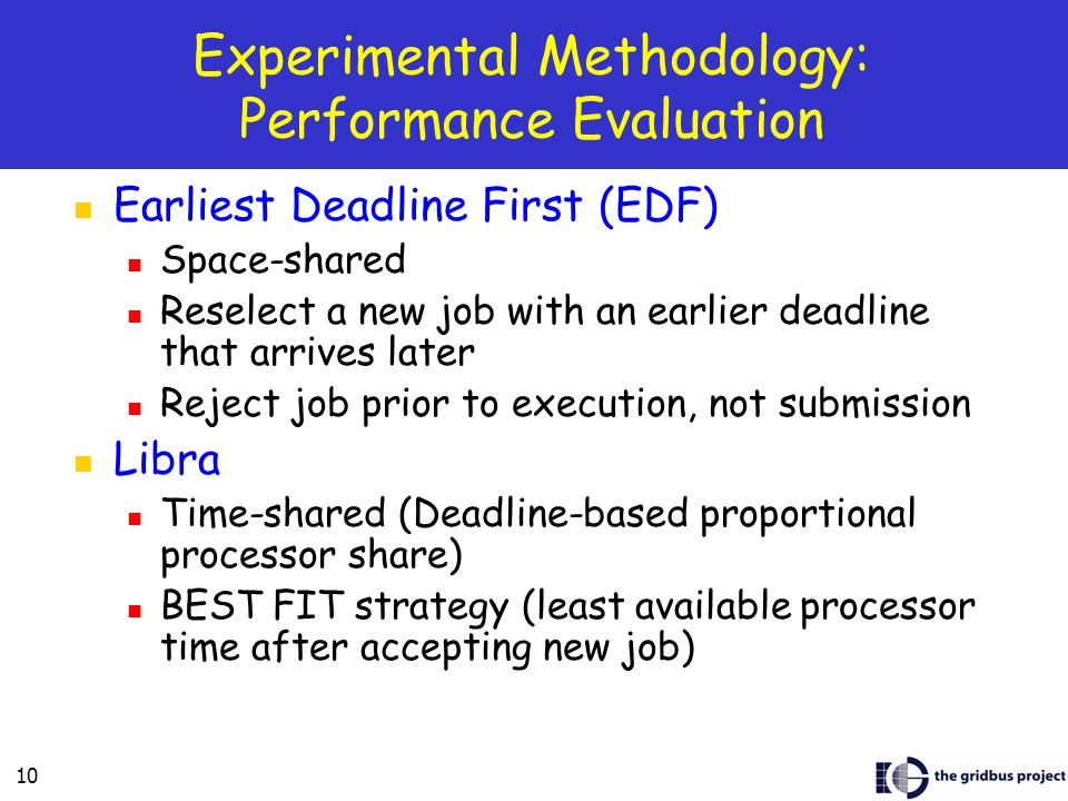 10 Experimental Methodology: Performance Evaluation Earliest Deadline First (EDF) Space-shared Reselect a new job with an earlier deadline that arrives later Reject job prior to execution, not submission Libra Time-shared (Deadline-based proportional processor share) BEST FIT strategy (least available processor time after accepting new job)
