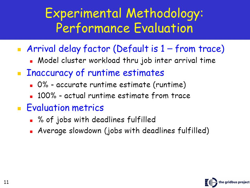 11 Experimental Methodology: Performance Evaluation Arrival delay factor (Default is 1 – from trace) Model cluster workload thru job inter arrival time Inaccuracy of runtime estimates 0% - accurate runtime estimate (runtime) 100% - actual runtime estimate from trace Evaluation metrics % of jobs with deadlines fulfilled Average slowdown (jobs with deadlines fulfilled)