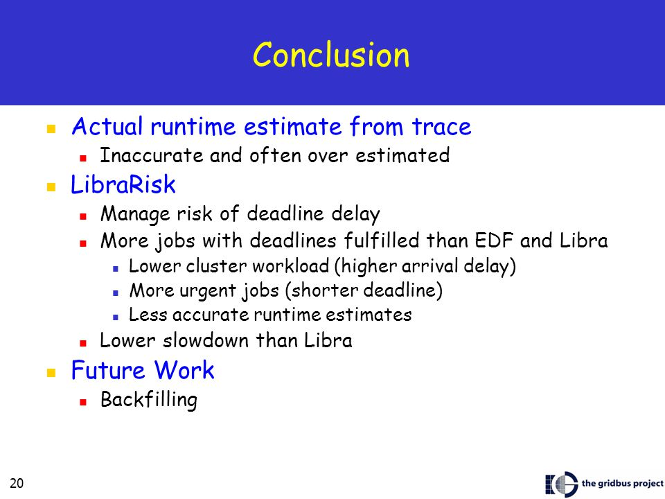 20 Conclusion Actual runtime estimate from trace Inaccurate and often over estimated LibraRisk Manage risk of deadline delay More jobs with deadlines fulfilled than EDF and Libra Lower cluster workload (higher arrival delay) More urgent jobs (shorter deadline) Less accurate runtime estimates Lower slowdown than Libra Future Work Backfilling