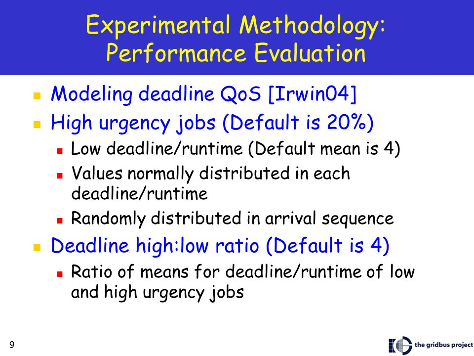 9 Experimental Methodology: Performance Evaluation Modeling deadline QoS [Irwin04] High urgency jobs (Default is 20%) Low deadline/runtime (Default mean is 4) Values normally distributed in each deadline/runtime Randomly distributed in arrival sequence Deadline high:low ratio (Default is 4) Ratio of means for deadline/runtime of low and high urgency jobs