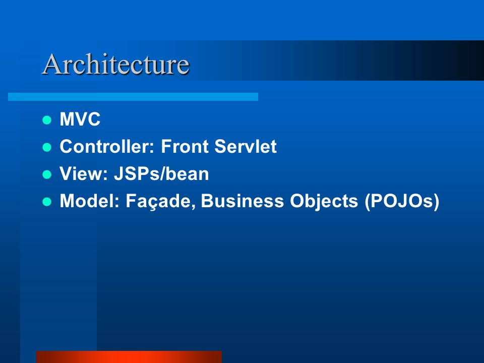 Architecture MVC Controller: Front Servlet View: JSPs/bean Model: Façade, Business Objects (POJOs)